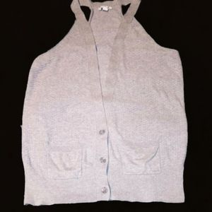 American Eagle Outfitters Gray Sleeveless Cardigan